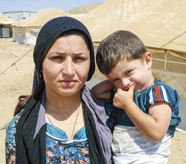 Woman and child in camp