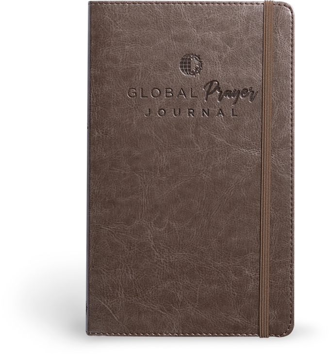 Cover of Global Prayer Journal in dark brown leather color with VOM logo.
