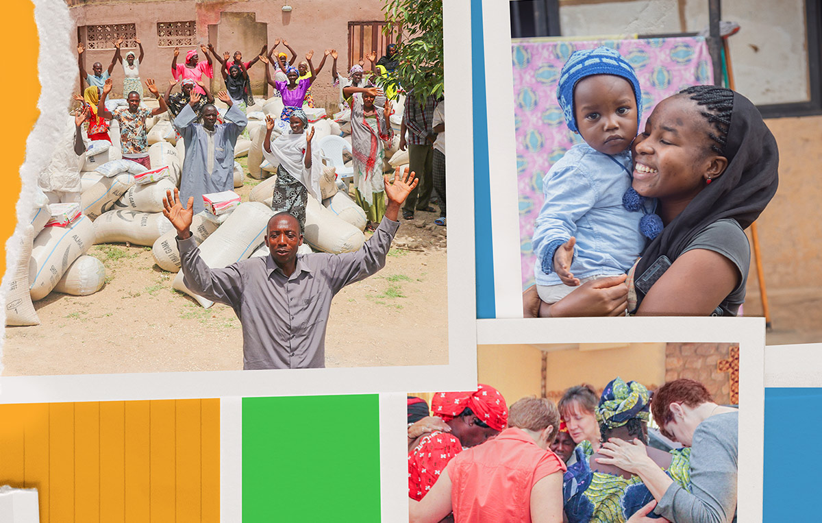 Collage of people from nigeria including crowd celebrating bags of supplies