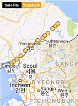 Map of gps tracking points