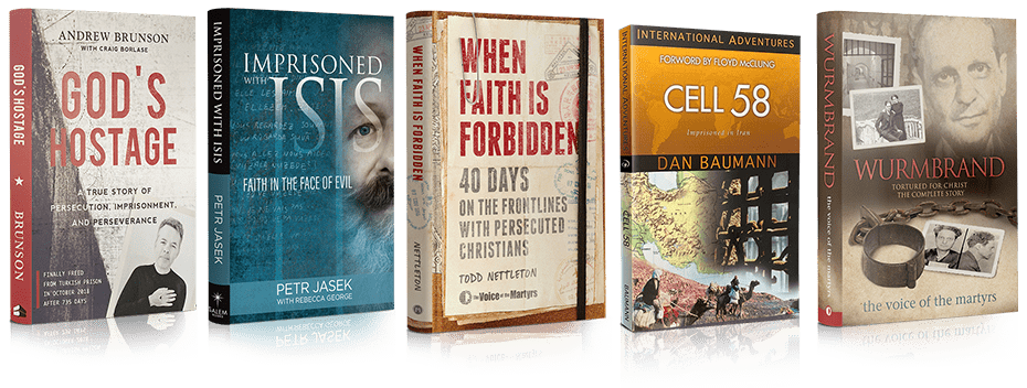 Covers of 'Imprisoned with ISIS', 'Gods Hostage', 'Cell 58', 'When Faith is Forbidden' and 'Wurmbrand' books