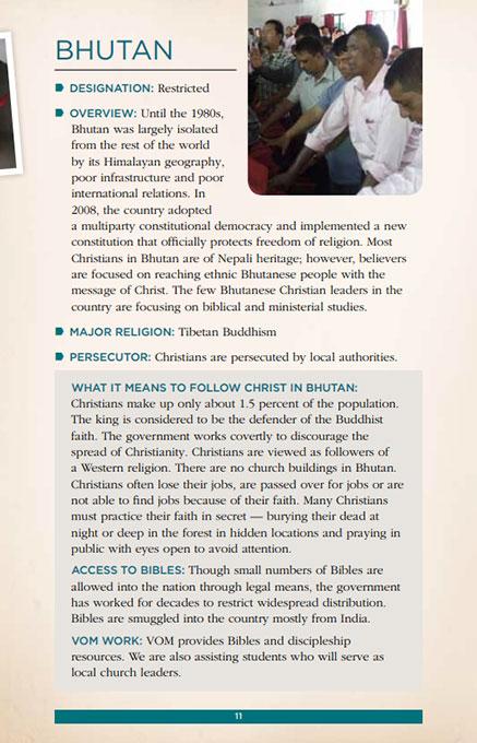 Global Prayer Guide Bhutan Page