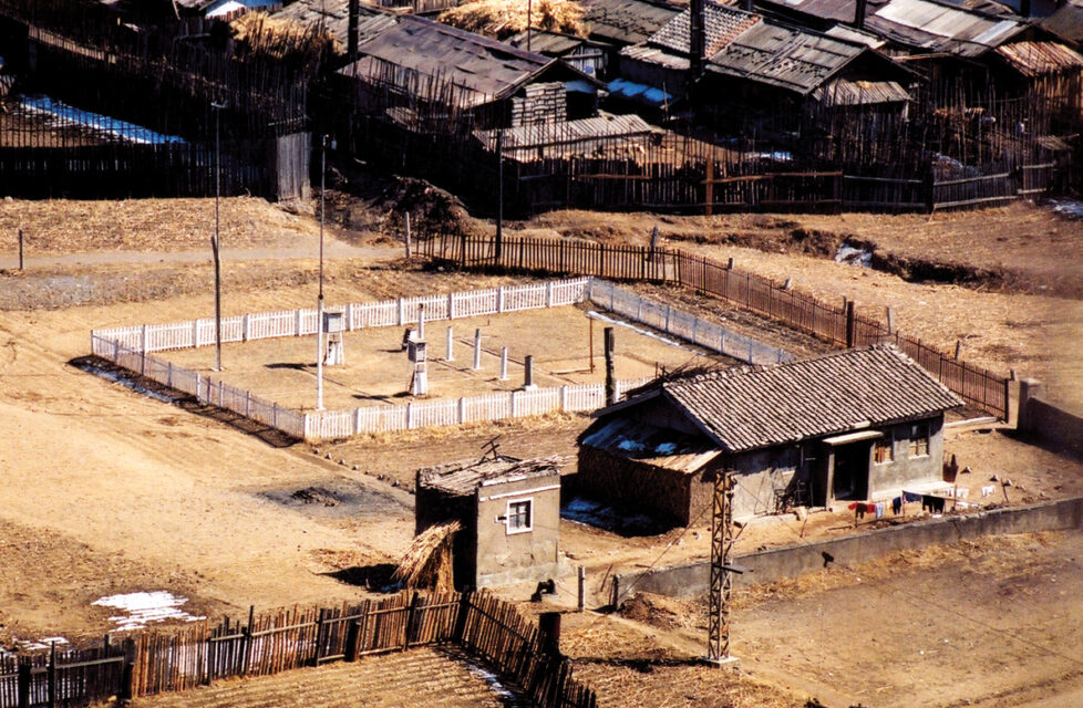 North Korean outdoor labor camp view from above